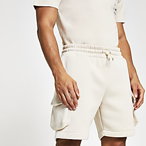 Steingraue Slim Fit Utility-Shorts