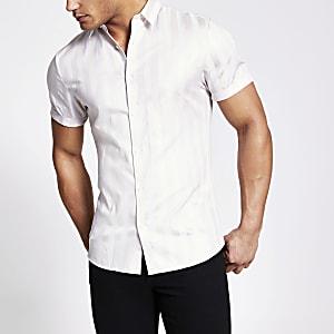 Kiezelkleurig gestreept slim-fit overhemd van Egyptisch katoen