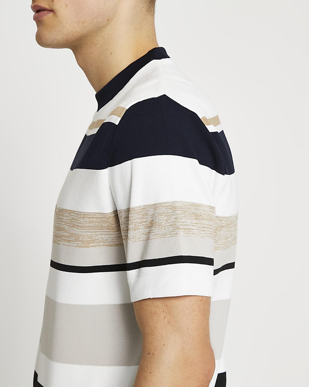 Stone stripe knit t-shirt