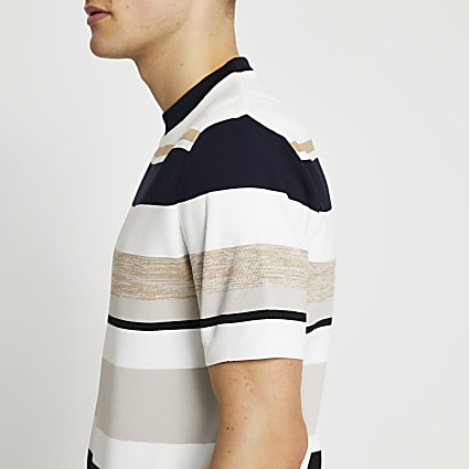 Stone stripe knit t-shirt