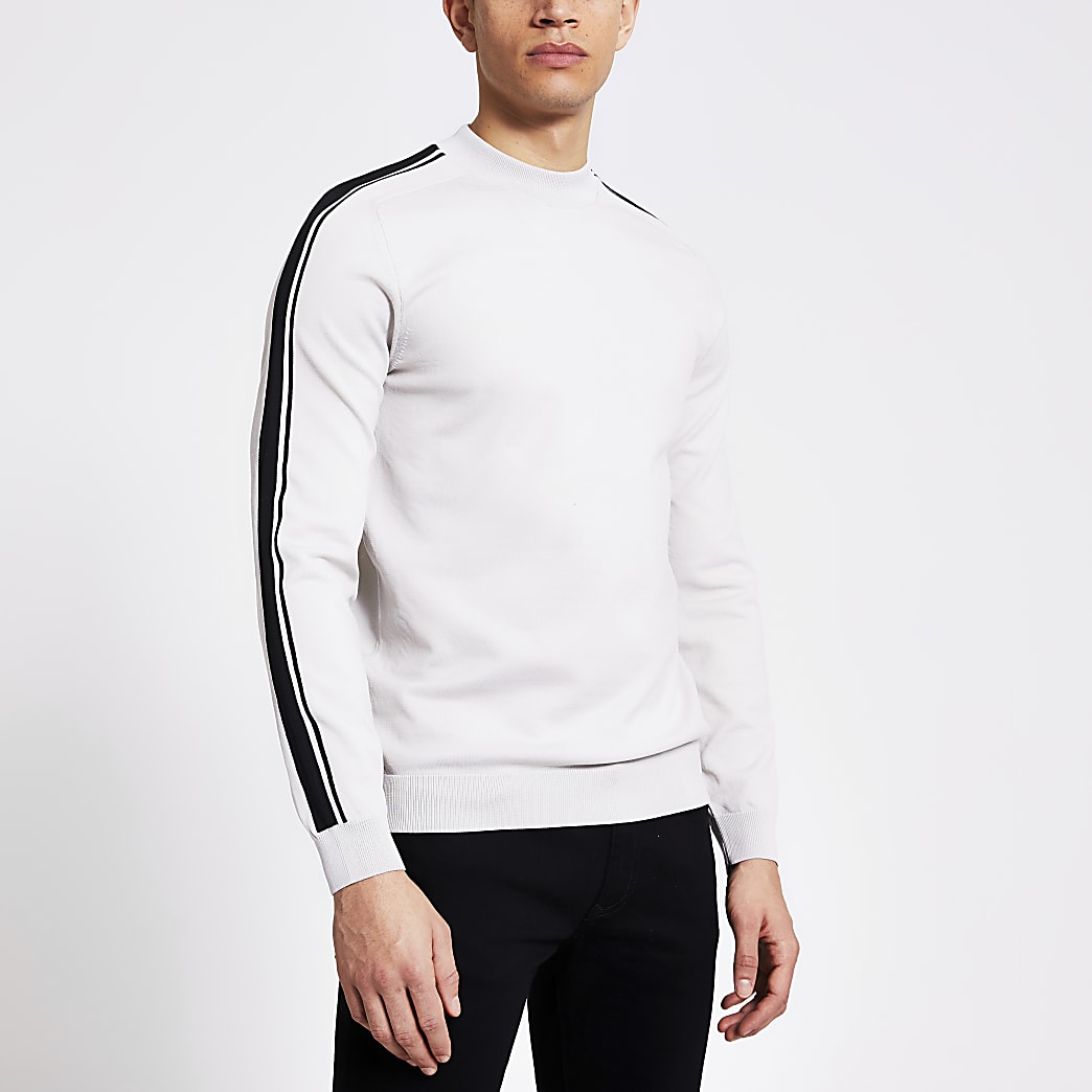 Stone stripe long sleeve knitted jumper