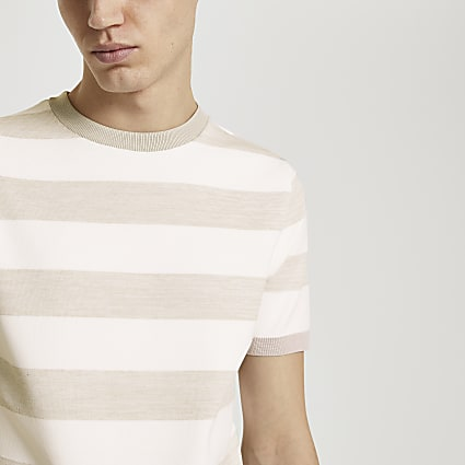 Stone stripe slim fit knitted t-shirt