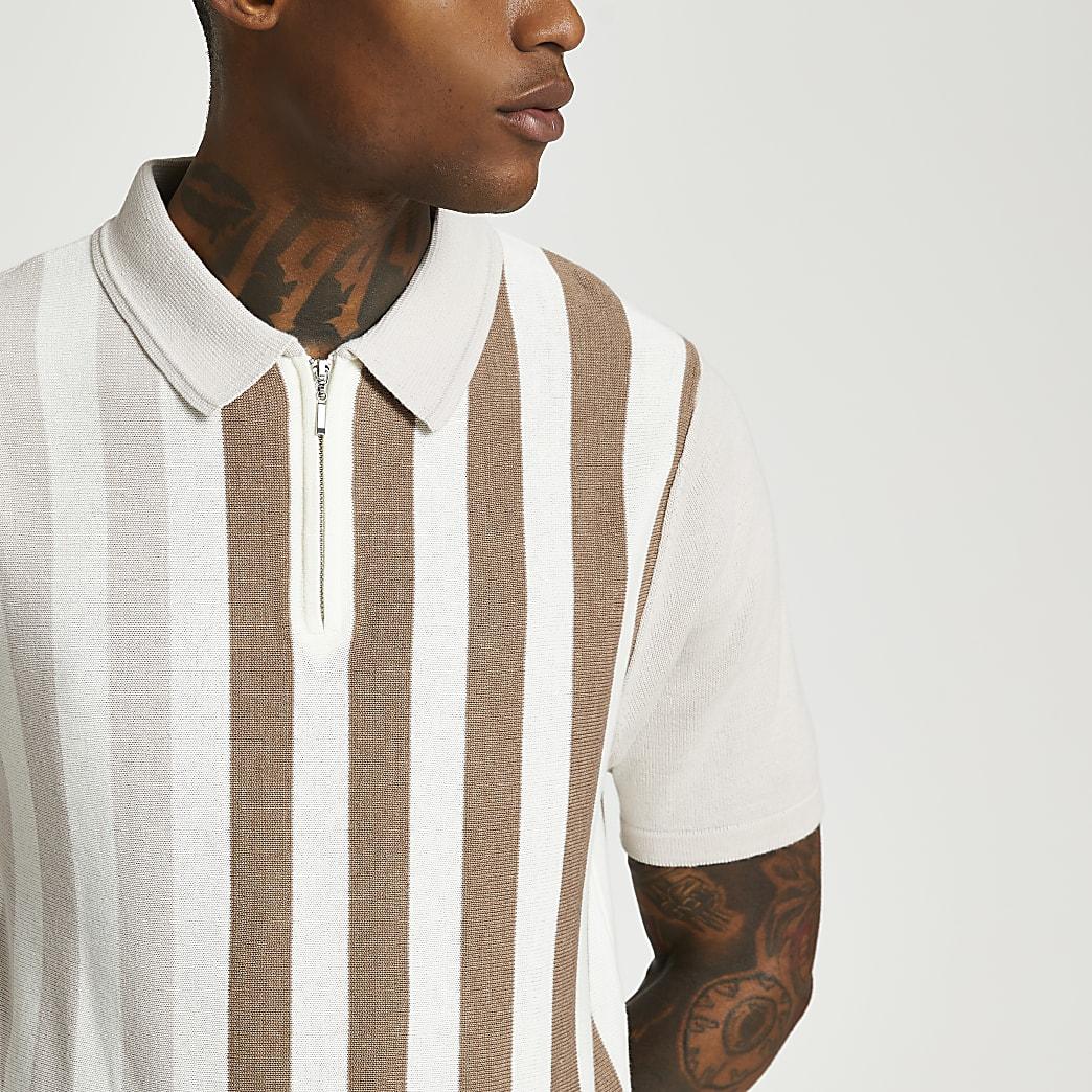 Stone stripe slim fit short sleeve polo shirt