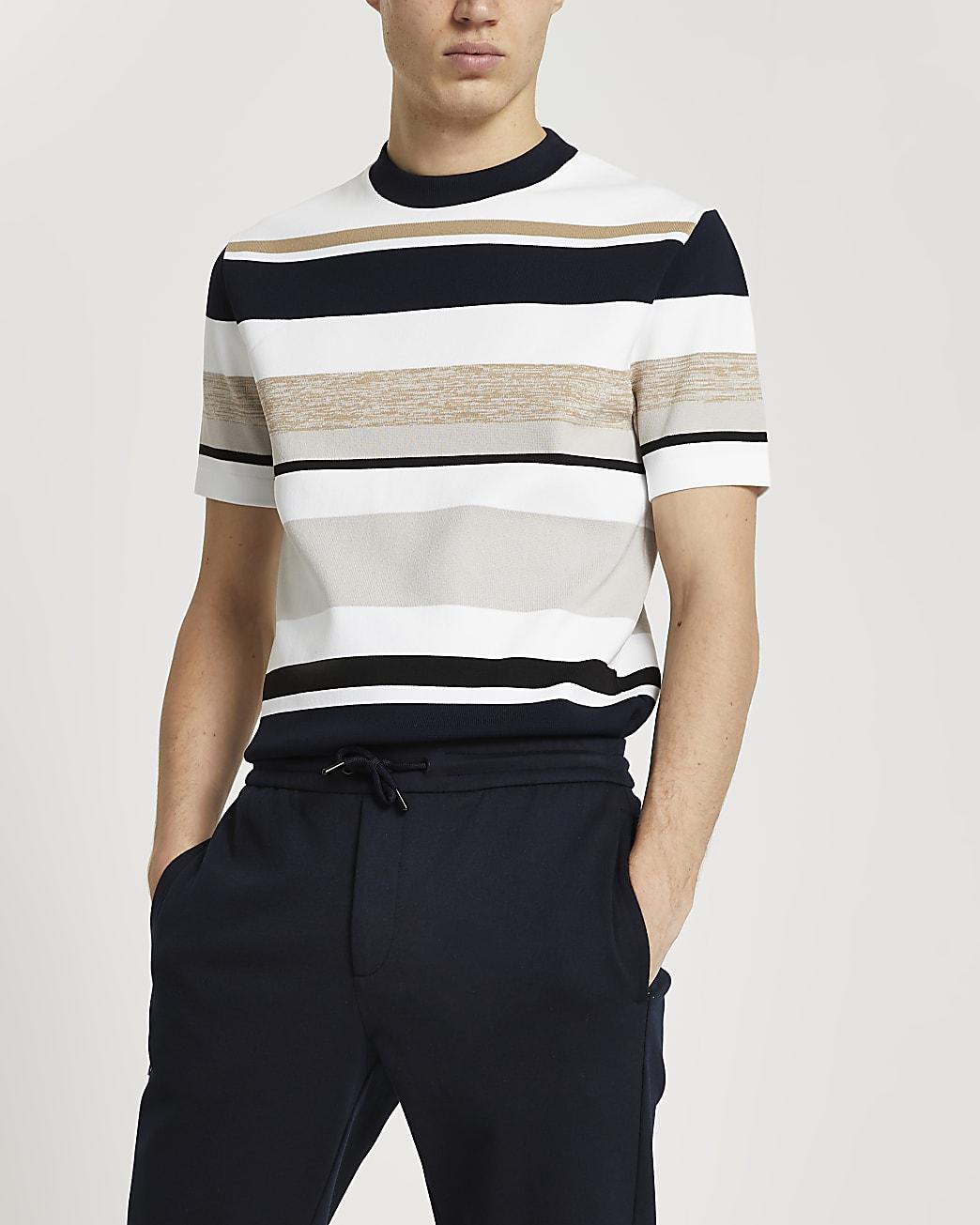 Stone stripe slim fit short sleeve t-shirt