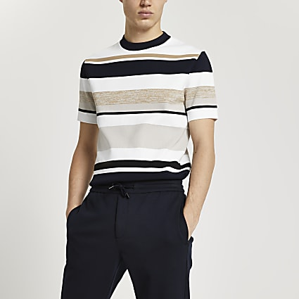Stone stripe slim fit short sleeve t-shirt