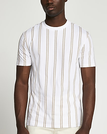 Stone stripe slim fit t-shirt