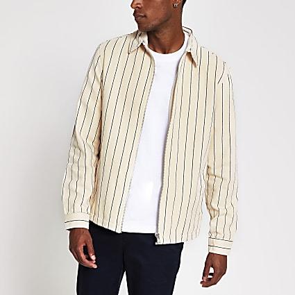 Stone stripe zip front overshirt