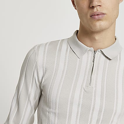Stone stripe zip muscle fit polo