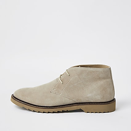 Stone suede chukka boots