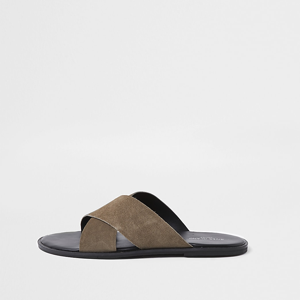 Stone suede leather cross over sliders