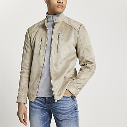 Stone suedette racer jacket