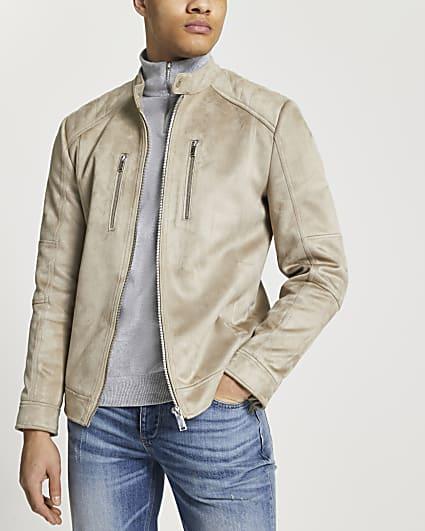 Stone suedette racer jacket
