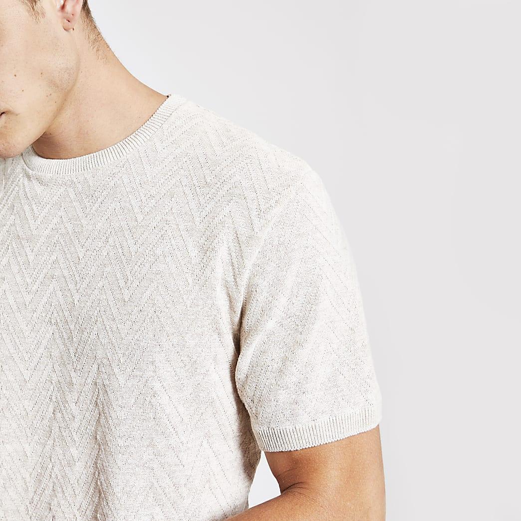 Kiezelkleuriggetextureerd gebreid T-shirt