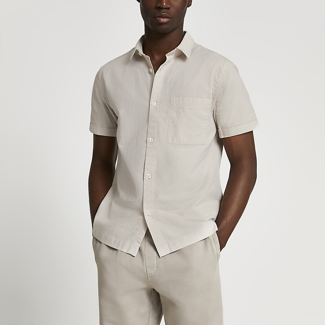 Stone textured short sleeve shirt