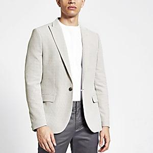 Kiezelkleurige skinny-fit blazer met textuur