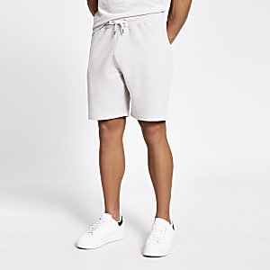 Stone textured slim fit shorts