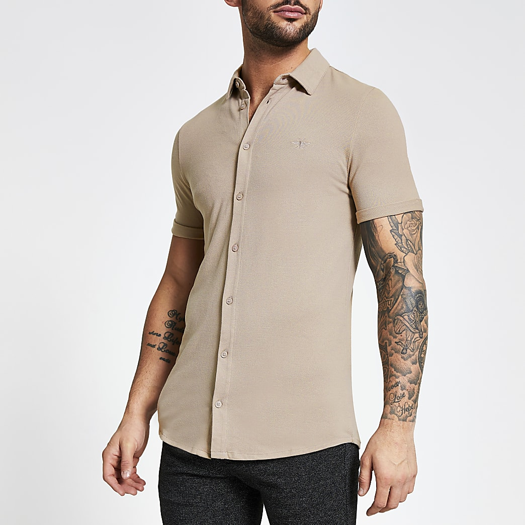 Stone wasp embroidered pique shirt