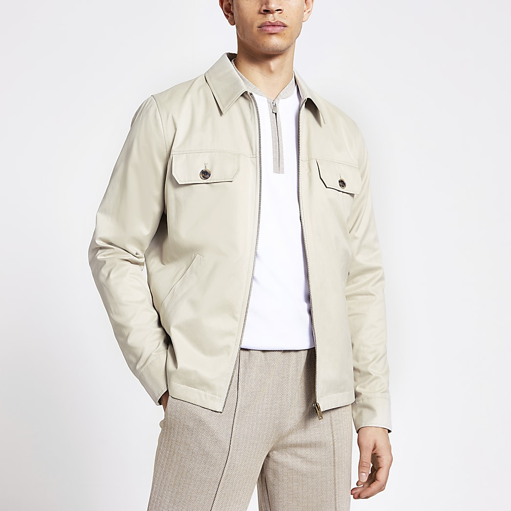 Stone water resistant overshirt jacket