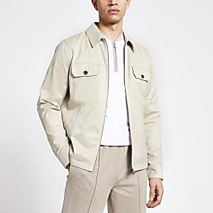 Wasserfeste Jacke in Steingrau mit Reißverschluss