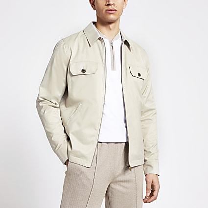 Stone water resistant zip front jacket