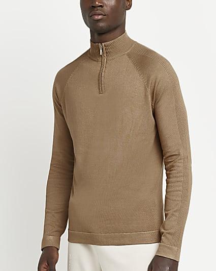 Stone zip funnel neck slim fit jumper