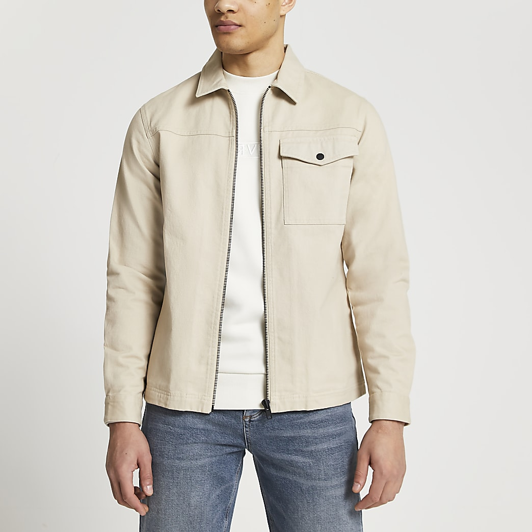 Stone zip through shacket