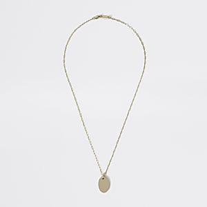 Studio gold plated dog tag pendant necklace