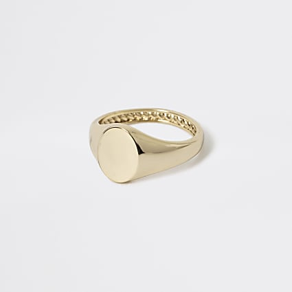 Studio gold plated signet ring