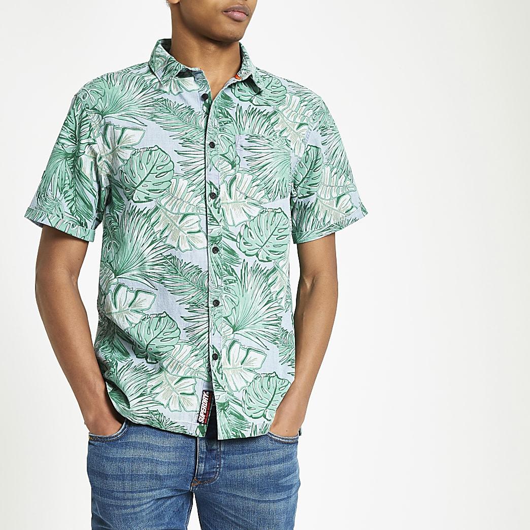 Superdry - Blauw overhemd met print van bladeren en normale pasvorm