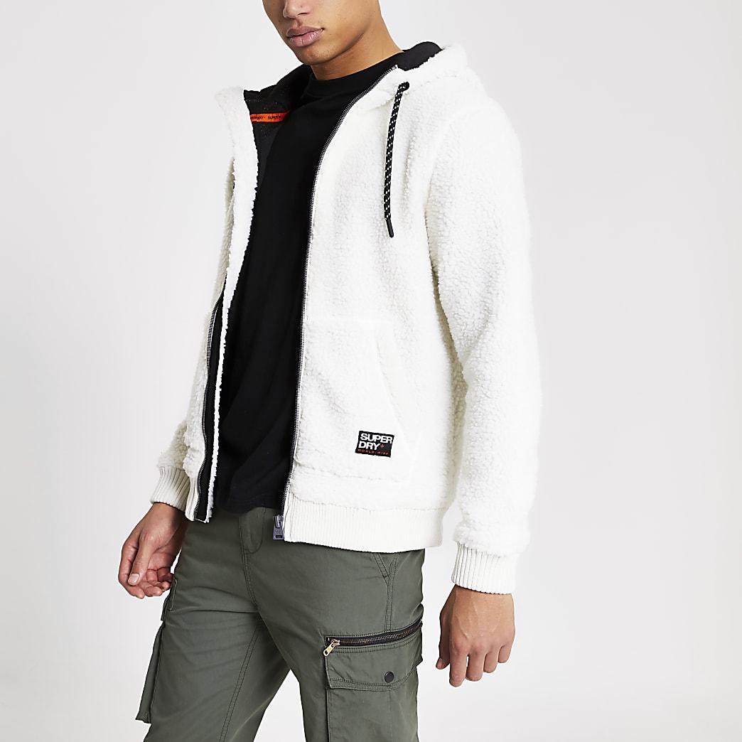 Superdry ecru borg zip front hoodie