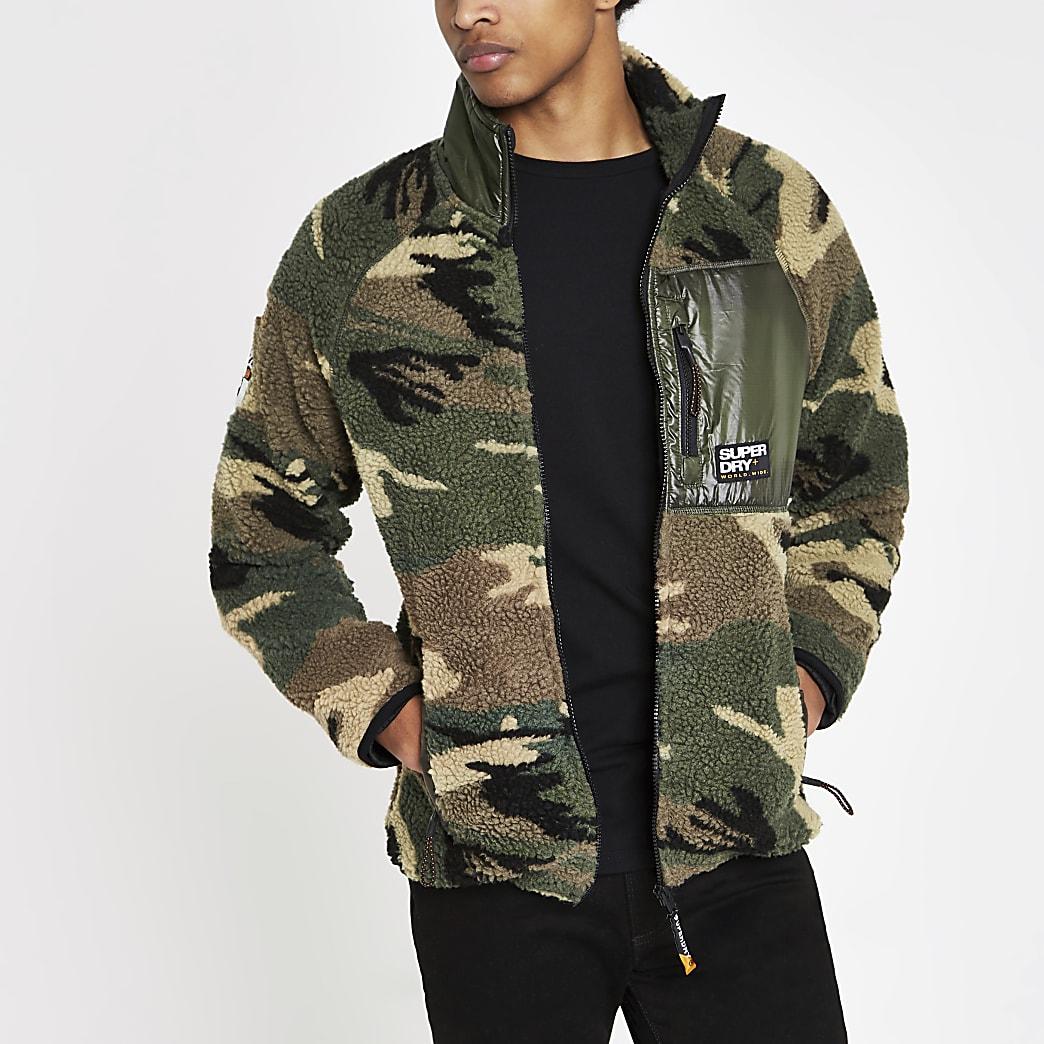 Superdry - Groen fleece jack met camouflageprint en rits