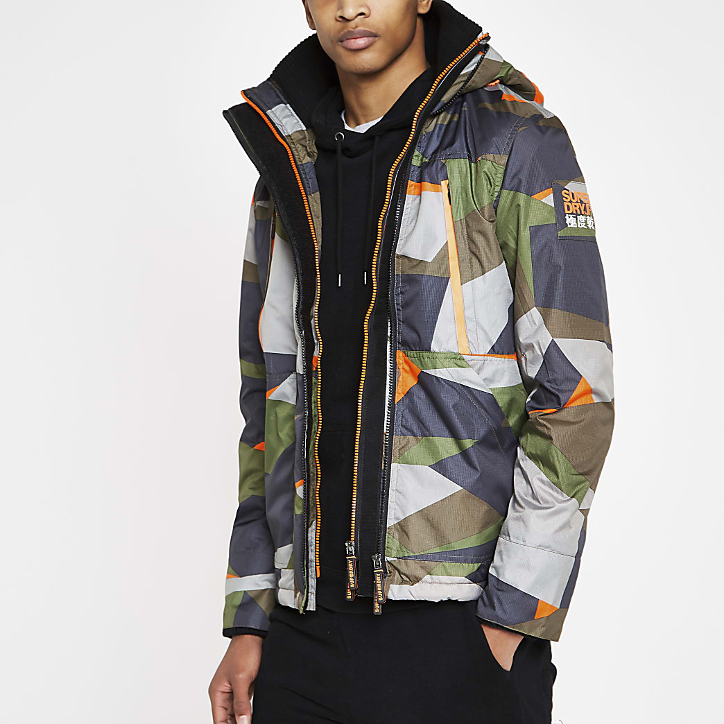 Superdry green hooded polar jacket
