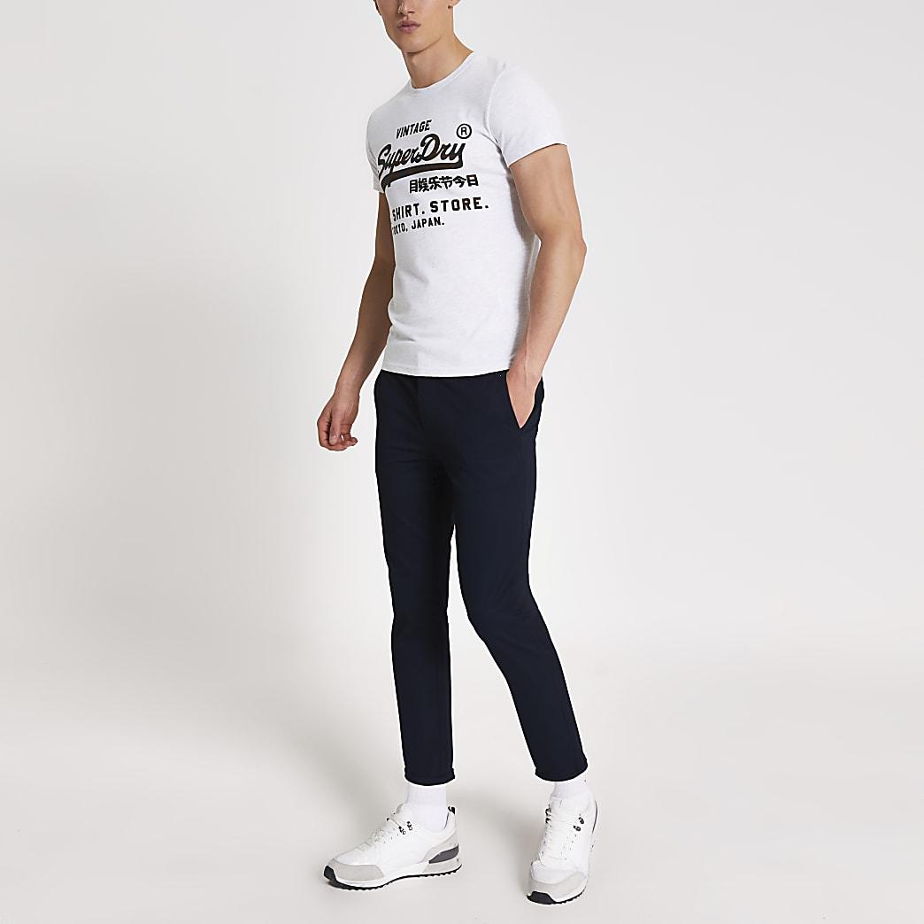 Superdry - Grijs T-shirt met logo print op de borst