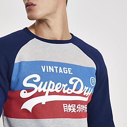 Superdry grey printed raglan sweatshirt