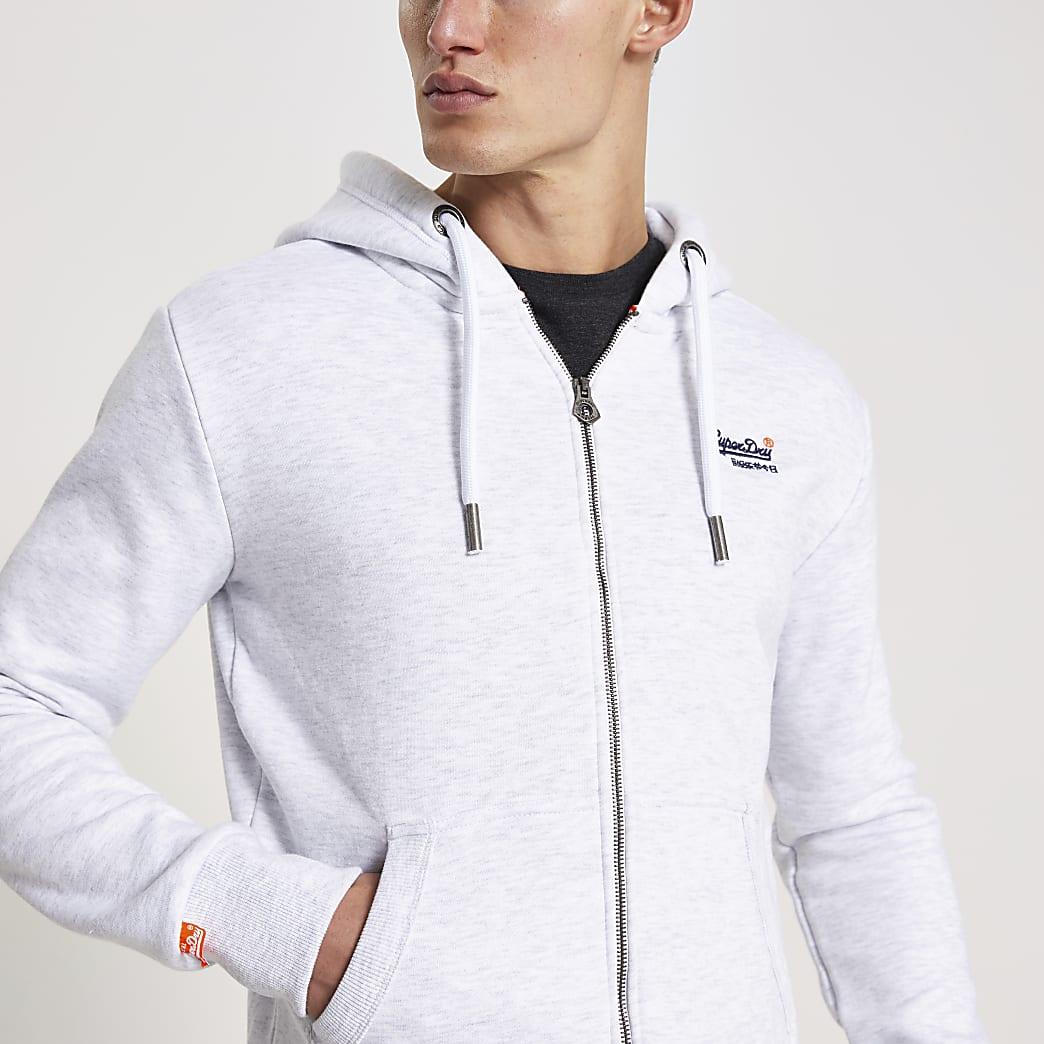 Superdry - Grijze hoodie met ritssluiting