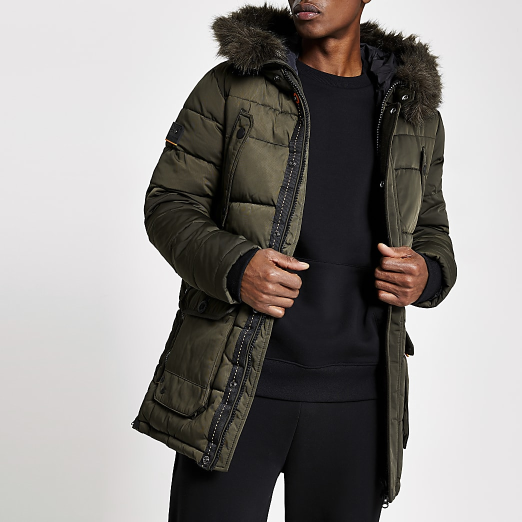 Superdry khaki faux fur hooded parka jacket