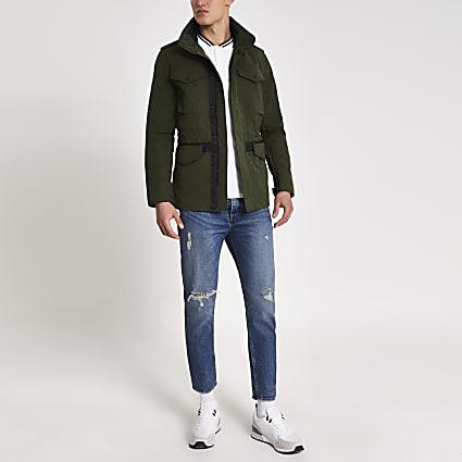 Superdry khaki high neck utility jacket