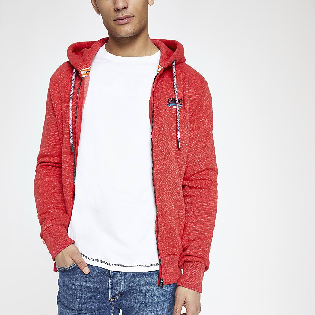 Superdry – Sweat rouge zippé sur le devant