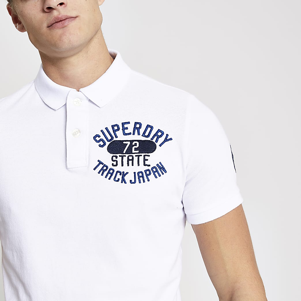 Superdry white  Superstate polo shirt