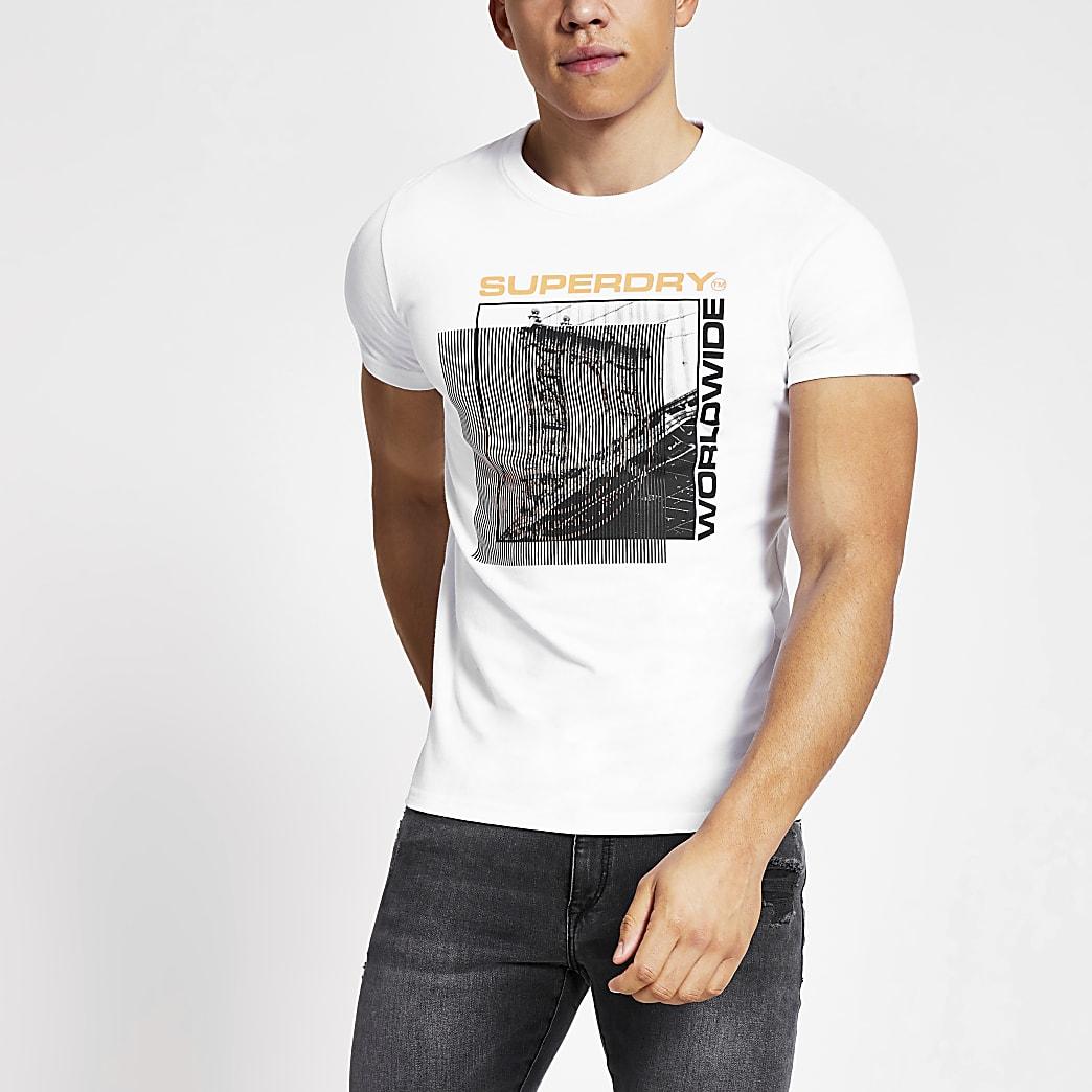 Superdry - Wit T-shirt met print en korte mouwen