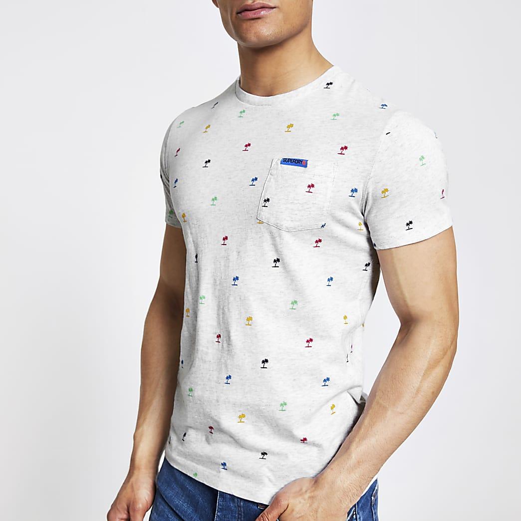 Superdry white printed T-shirt