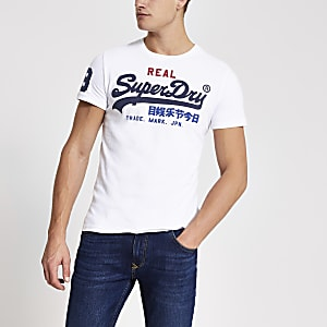 Superdry – T-shirt blanc avec logo vintage