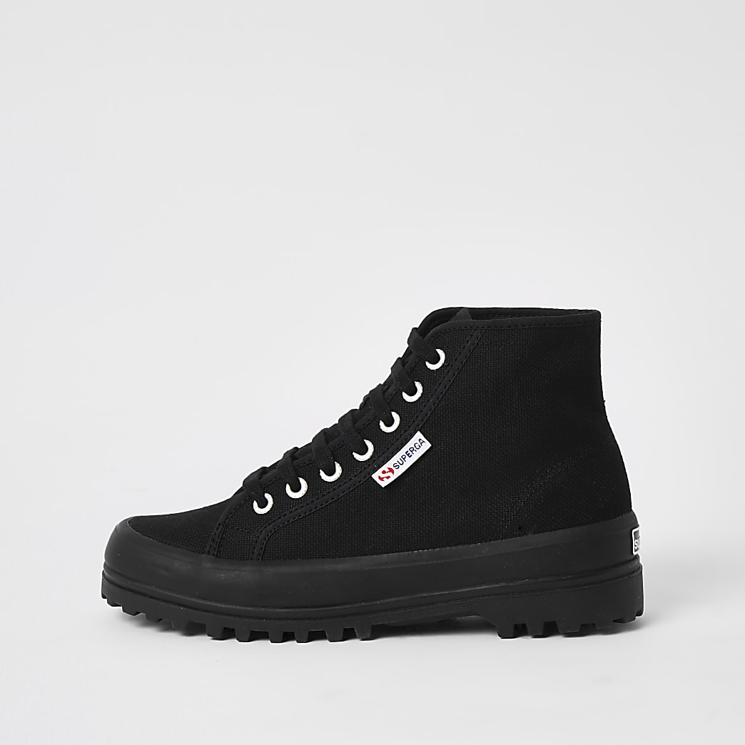 Superga black high top ankle boots