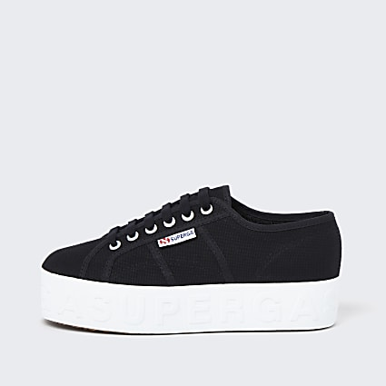 Superga black logo flatform trainers
