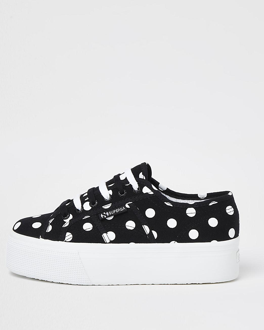 Superga black polka dot flatform trainers