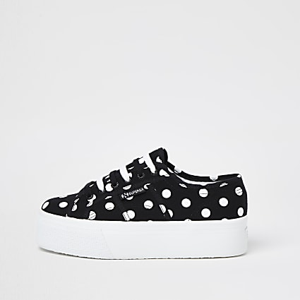 Superga black polka dot flatform trainers