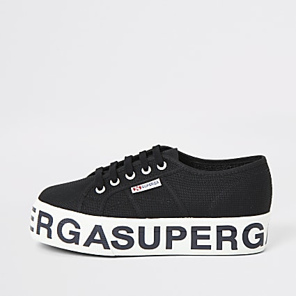 Superga black printed platform trainers