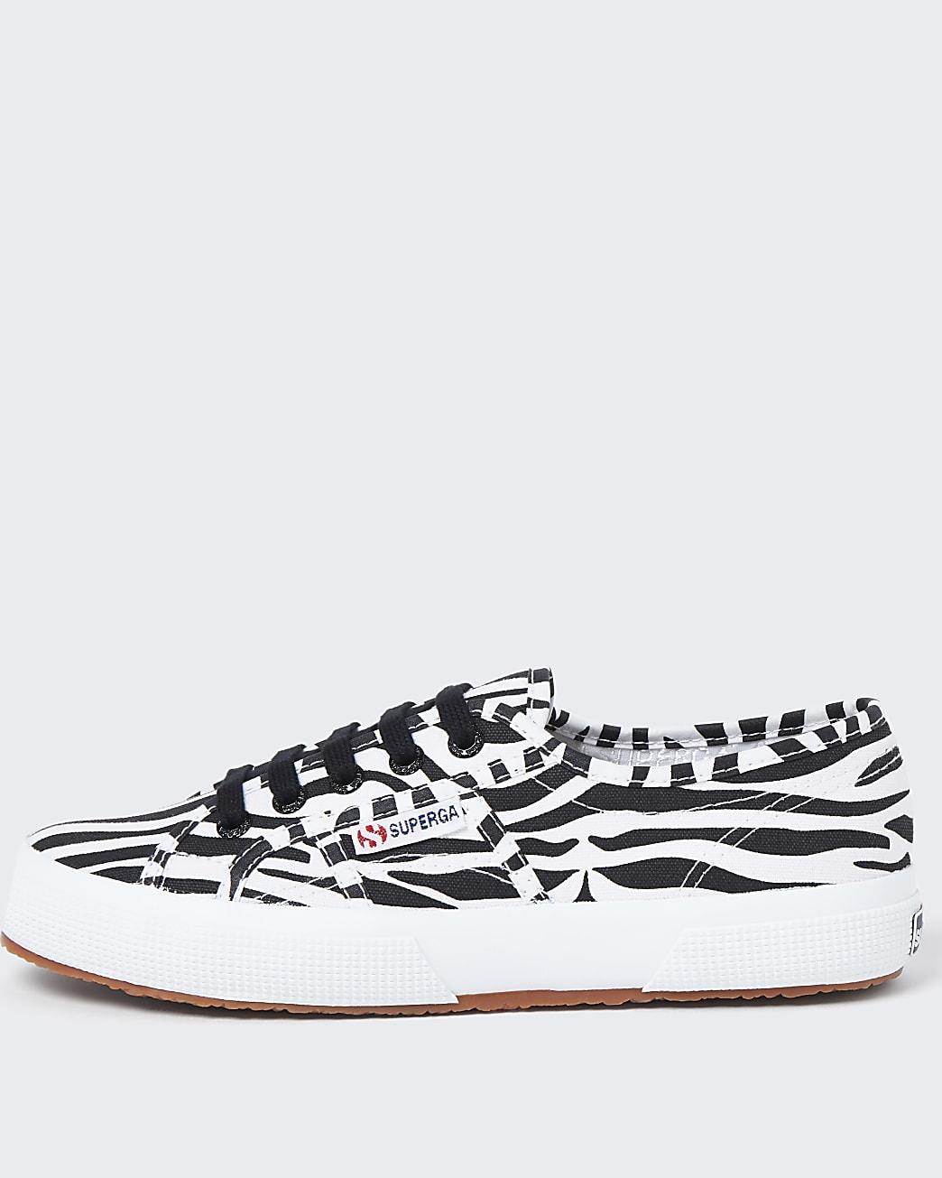 Superga black zebra classic canvas trainers
