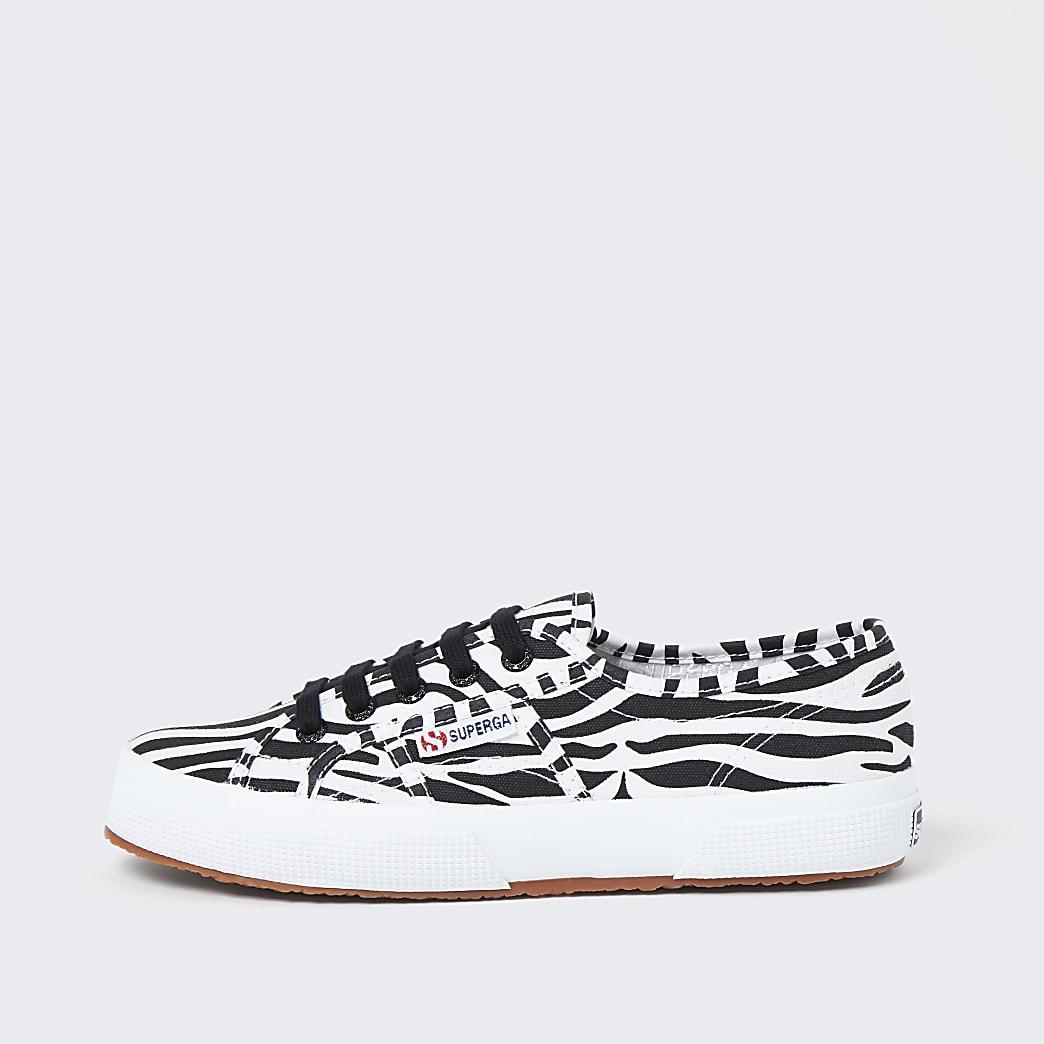 Superga black zebra lace up trainers
