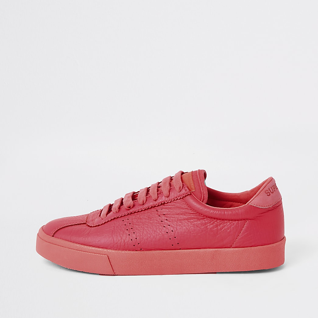 Superga bright coral lace-up runner trainers